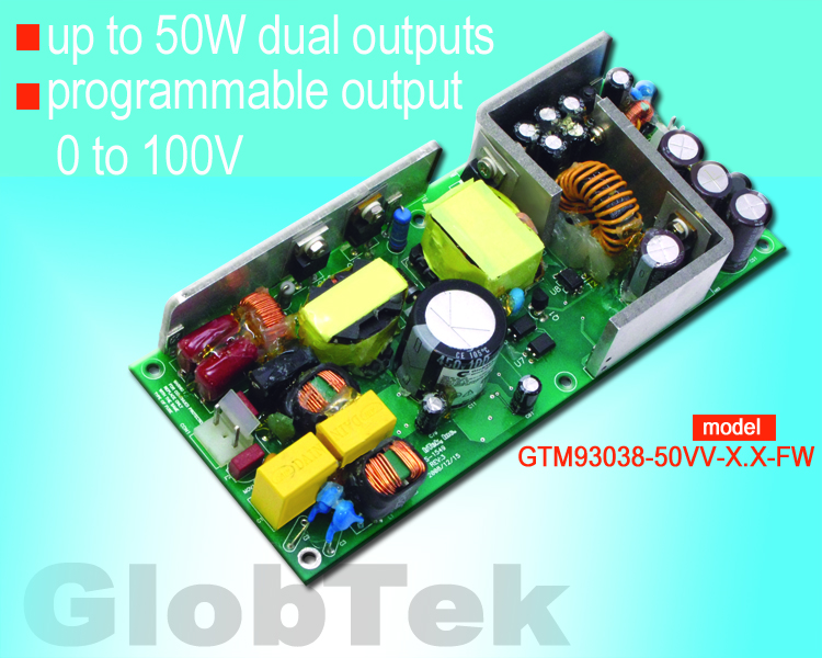 0 to 100v programmable voltage output Medical (60601-1) Internal Open Frame Power Supply designed to meet ANSI/AAMI ES60601-1 and EN/IEC 60601-1, 3rd edition is rated up to 50W output with dual outputs, Model Series GTM93038-50VV-X.X-FW