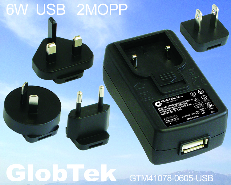 USB AC Adapter/Power Supply Certified to ANSI/AAMI ES60601-1 for the United States and Canada and EN/IEC 60601-1, 3rd edition for Europe, Asia, and Africa and is rated up to 6W output with 5V output., Model Series WR9QA1000USBNMEDRVB GTM41078-06