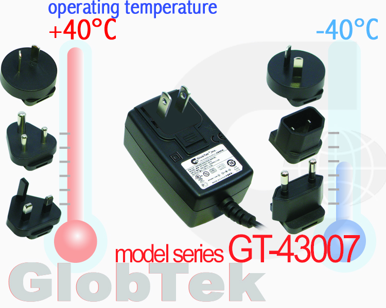 Wall plug in power supply AC Adapter operating temperature specifications upgraded to -40°C TO +40° C for applications used in extreme climates and conditions, Model series GT-43007